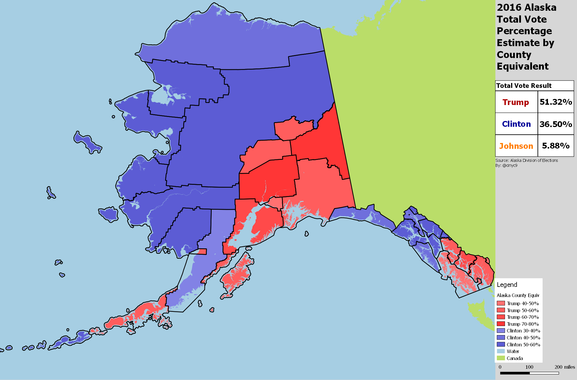 Alaska 2016 Presidential Result by County Map