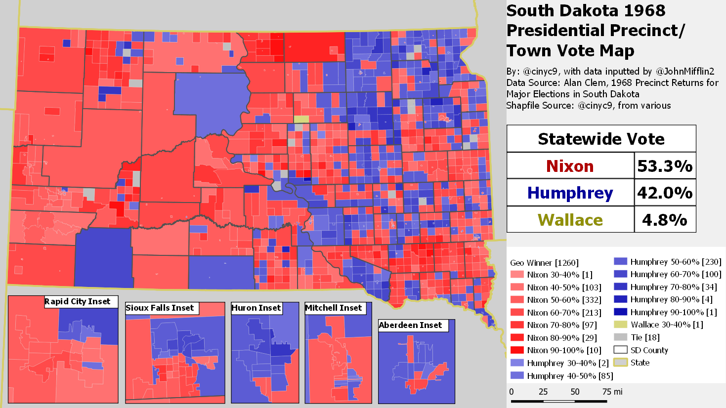 Interactive map of certain South Dakota historic election results by precinct/town/county remainder